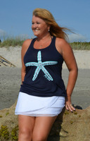 Navy Racer Back Flowy starfish tank top