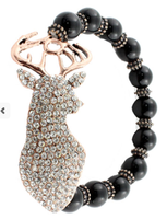 Black beaded Deer Crystal bracelet