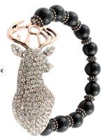 Black beaded Deer Crystal braclet