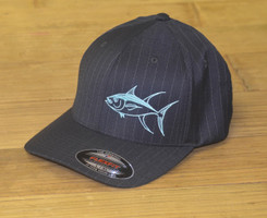 Gray pin strip mint tuna fitted flex fit hat L/XL