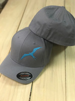 Gray with  mint Frigate fitted flex fit hat L/XL