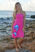 fuchsia pink one size tube top mermaid dress