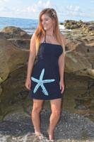 Shorter tunic style onesize black tube starfish dress