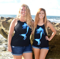 Black racerback tank with mermaid