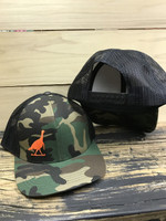 Orange Turkey on camo and black  mesh back adjustable hat