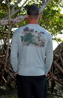 Mens gray  snook  fishing sun shirt