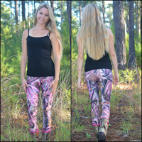 Pink Antler camo leggings  Full Length or Capri