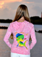Pink vintage washed dolphin zip hoodie with swarovski crystals