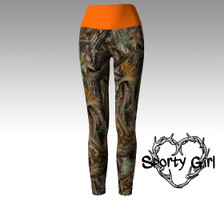 CAMO leggings with fold over ORANGE band