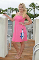 Strapless coral hanging bluefin tuna onesize dress