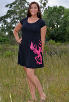 Women's Black casual dress with neon pink Buck head dress