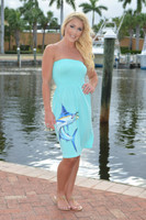 Strapless mint Marlin with  tuna onesize dress