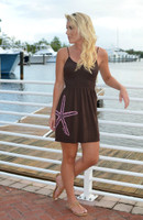 Brown with pinkish coral starfish strapped  onesize dress