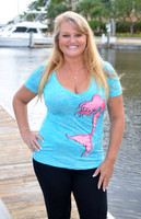 Blue Burnout V-neck mermaid shirt