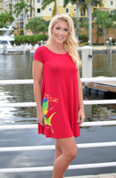 Women's red mahi mahi loose fitting dress