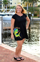 Women's Black mahi mahi loose fitting dress