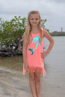 kids coral mermaid fringe dress
