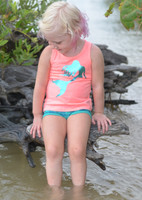 Coral blue foil mermaid toddler tank