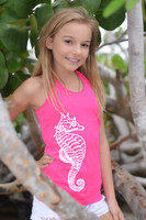 Neon pink seahorse oneszie tank top