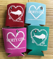 REEL LOVE and HEART HOOK fishing Koozie