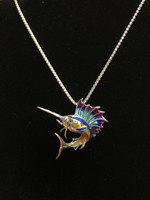 Sterling Silver sailfish multi color enamel Necklace