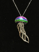 Sterling Silver jellyfish multi color enamel Necklace