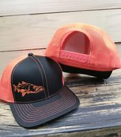 Black and orange SNOOK adjustable mesh back hat