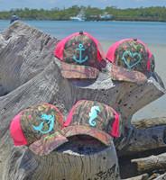 Neon Pink Mesh back camo hats