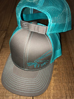 Spiny Lobster Gray with teal mesh velcro back