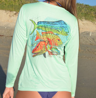 Copy of Mixed fish with Florida Keys map Ladies performance shirts