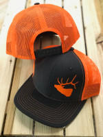 Men's charcole GRAY  with neon orange mesh back snapback ELK Hat