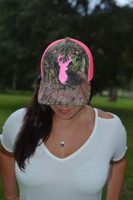 Ladies  Buck Head camo with neon pink  hat