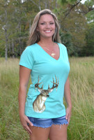Ladies  Deer head MINT V neck  shirt