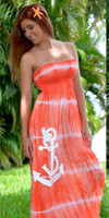 Orange convertible maxi dress or skirt