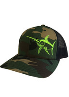 Mens camo  mesh snapback hat with Neon Green Swordfish