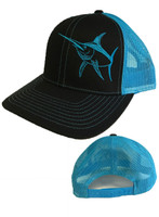Mens Swordfish black and blue  mesh snapback hat