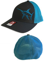 Mens Swordfish flex fit mesh gray and blue  hat