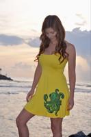 Sunshine Yellow with octopus  Spaghetti strap  dress
