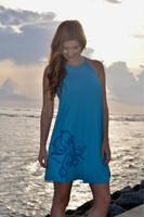 blue octopus high neck racerback  shift  dress