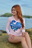 UPF50+ women's pink fitted octopus sun shirt /dive shirt