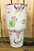 30 OZ SG ELITE  skull flower arrow and  cactus stainless steel  tumbler