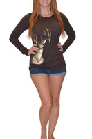 DEAL Brown Thermal Deer Head Shirt