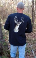Black Long Sleeve Pocket Mens Deer Head Shirt ALSO in WHITE