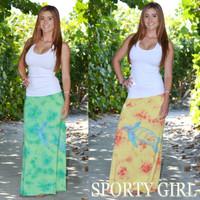 Tie Dye Turtle Maxi Skirts