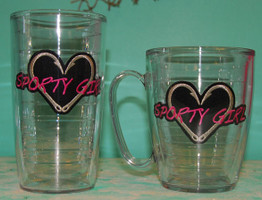 16 OZ Sporty girl and Heart Hook Tervis Tumblers