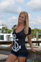 Black V-Neck Anchor Burnout Shirt