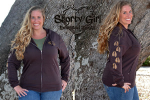 WOMENS Brown Deer head light weight fleece Zip Hoodie