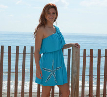 Turquoise one shoulder starfish dress