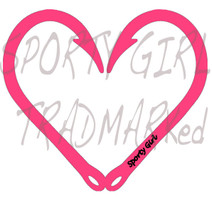 Neon Pink Heart Hook Decal