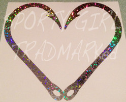 Glitter Heart Hook Decal